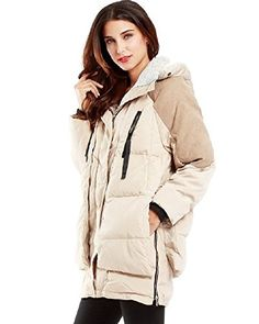 BOMOVO Womens Winter Outwear Thickened Long Down Jacket with Hood Medium10 Beige *** Details can be found by clicking on the image.