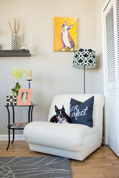 A chic, dog-friendly living room