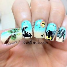 Here we present cool summer inspired cocktail and beach nail art designs that will instantly jazz up your looks! Cute Nail Art, Cute Nails, Pretty Nails, My Nails, Fall Nails, Holiday Nails, Nail Art Designs, Beach Nail Designs, Beach Design