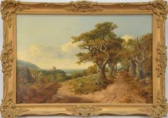 "EDMUND JOHANN NIEMAN (1813-1876)  Goodrich on the Wye  oil on canvas  signed lower right Niemann  restretched and relined  titled on stretcher  16"" x 24"""