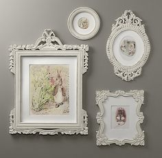 I love these antique-like frames, and may include vintage storybook illustrations or something of the like.