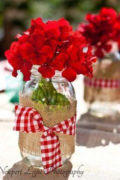 Burlap, geraniums, and a ball jar- cute combo