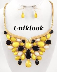 Distinctive Bold Design Gold Yellow & black Acrylic Statement Necklace Earrings