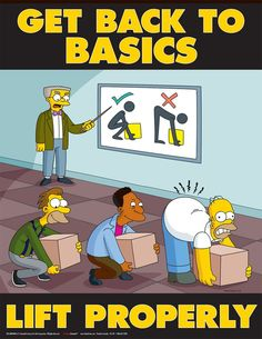 """Metal Sign The Simpsons """"Lift Properly"""" Security Collection 10 Decor Wall Art Safety Quotes, Safety Slogans, Health And Safety Poster, Safety Posters, Office Safety, Workplace Safety, The Simpsons, Safety Fail, Safety Work"""