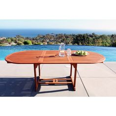 Outdoor Eucalyptus Oval Extention Table with Foldable Butterfly | Overstock.com Shopping - The Best Deals on Dining Tables