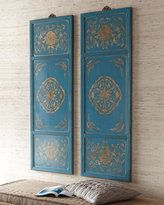 gold and blue panels -- put on grey walls !