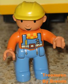 """""""Can we fix it?""""  """"Yes, we can!"""" Bob the Builder and his friends first appeared on British television in 1998 and Bob is still doing renovations, construction, and repairs jobs. Love Lego's Duplo minifigure version of Bob the Builder! #lego #duplo #bobthebuilder"""