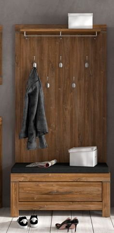 Hallway Entrance Porch Cloakroom Storage Furniture Gorgeous wood tone and texture make this a great Shelf Hooks, Wall Mounted Hooks, Shelves, Coat Hooks, Cloakroom Storage, Hallway Storage, Kitchen Flooring Options, Washable Wallpaper, Walnut Floors