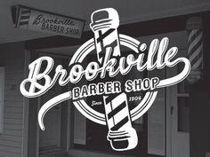 Dribbble - Brookville Barber Shop Logo by Nate Stevens Barber Logo, Barber Shop, Shop Logo, Barber Business Cards, Typography Letters, Lettering, Barbershop Design, Barbershop Ideas, Vintage Poster