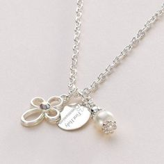 Personalised Girls First Holy Communion Necklace with Cross - Swarovski Aurora Borealis crystal - Silver Necklace for Holy Communion - Religious Holy. First Communion Gifts, First Holy Communion, Pretty Necklaces, Christian Gifts, Girl Gifts, Little Gifts, Cross Pendant, Wedding Jewelry, Aurora Borealis