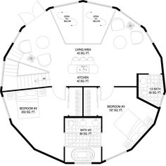 Deltec Homes- Floorplan Gallery | Round Floorplans | Custom Floorplans 2-story Monterey 4bed 4bath 2330 total sqft  Plan #1200-4-4-992 top floor