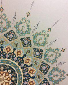 By Zahra Ghazipour Islamic Art Pattern, Arabic Pattern, Pattern Art, Motifs Islamiques, Motif Oriental, Illumination Art, Turkish Art, Islamic Art Calligraphy, Calligraphy Alphabet