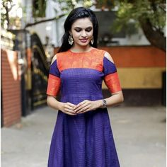 Sungudi - Amethyst Blue Fit and Flare Gown with Zari Border Saree Gown, Sari Dress, Anarkali Dress, Indian Designer Outfits, Designer Dresses, Long Frocks For Girls, Kalamkari Dresses, Long Dress Design, Long Gown Dress
