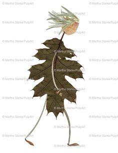 Pressed flower art - blank greeting card - digital print of original art - made of pressed flowers, herbs & leaves grown in my garden