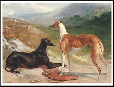 GREYHOUND TWO DOGS LOVELY VINTAGE STYLE IMAGE ON DOG PRINT POSTER