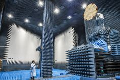 ESA's Hybrid European RF and Antenna Test Zone (HERTZ)for antenna testing, formerly known as the Compact Payload Test Range. Metal walls screen outside radio signals while spiky foam interior cladding absorbs radio signals internally to create conditions simulating the infinite void…