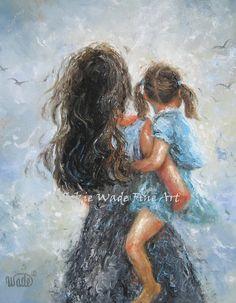 Mutter Daughter Art Print original Gemälde von VickieWadeFineArt