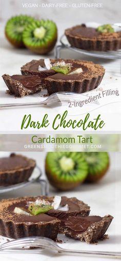 Dark Chocolate Cardamom No-Bake Tarts {vegan, gluten-free}