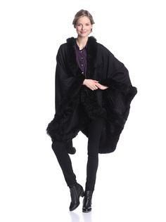 Alicia Adams Alpaca Women's Cape with Fur Trim, Black, One Size