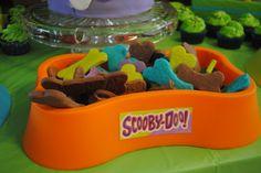Dog bone sugar cookies in Scooby colors