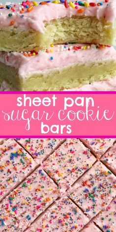 Soft thick sugar cookie bars topped with a creamy and sweet frosting and baked in a sheet pan. Perfect for a large crowd potluck picnic or a party. Change up the frosting color & sprinkles for different events parties and/or birthdays! Quick Dessert Recipes, Desserts For A Crowd, Mini Desserts, Sweet Recipes, Delicious Desserts, Yummy Food, Bar Recipes, Dessert Healthy, Desserts For Picnics