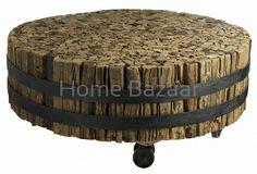 Wooden wheel coffee table  Stolik na kółkach
