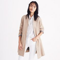 A cool, minimal coat in supersoft Japanese brushed jersey with a subtle herringbone print (cuff the sleeves to reveal a contrasting flip side). The perfect topper for those in-between-weather days. <ul><li>Loose fit.</li><li>Please note: This style runs large, so we recommend ordering one size smaller for a less oversized fit.</li><li>Cotton/wool/poly.</li><li>Dry clean.</li><li>Import.</li>&...
