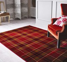 Lord of Rugs Glen Kilry Tartan Quality Modern HeavyWeight Plaid Design Red Area Rug in 3 Sizes x 170 cm x Harris Tweed, Tartan Carpet, Black White Rug, White Rugs, Red Black, Style Anglais, Tartan Fashion, Red Rugs, Blue Rugs