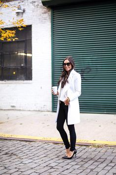 Black & White T by Tahari coat c/o Bluefly (under $200!) // AG Jeans//Topshop sweater) // Jimmy Choo heels <With Love From Kat>