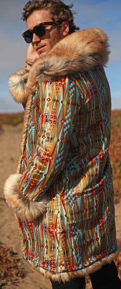 Tribal Reversible Men's Faux Fur Coat