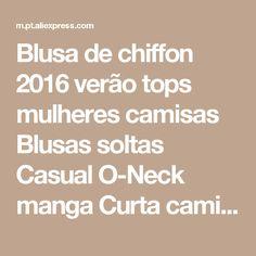 Blusa de chiffon 2016 verão tops mulheres camisas Blusas soltas Casual O-Neck manga Curta camisa blusas plus size blusas feminina 4XL Loja Online   aliexpress móvel