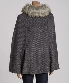 Another great find on #zulily! Gray Faux Fur-Neck Poncho by Barrington #zulilyfinds