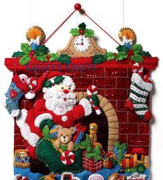 Bucilla Must Be Santa Felt Christmas Advent Calendar Kit Christmas Sewing, Felt Christmas, Christmas Stockings, Christmas Crafts, Christmas Decorations, Christmas Ornaments, Felt Advent Calendar, Felt Stocking, 242