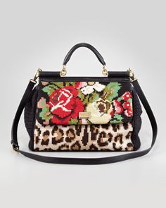 Dolce and Gabbana Mixed Tapestry Miss Sicily Satchel Bag - Neiman Marcus
