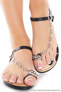 Black Faux Leather Floral Rhinestone Toe Ring Sandals