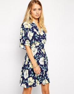 ASOS Skater Dress with Kimono Wrap in Large Floral Print