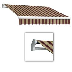 AWNTECH 8 ft. LX-Maui Manual Retractable Acrylic Awning (84 in. Projection) in Burgundy/Tan Multi, Red