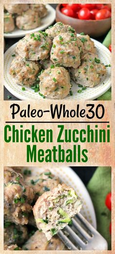 These Paleo Whole30 Chicken Zucchini Meatballs are so delicious and easy to make. A healthy, simple dinner or make ahead meal. Gluten free, dairy free, and low fodmap.