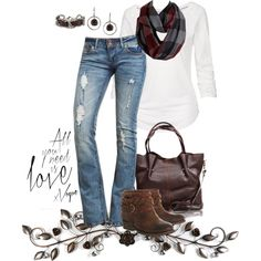 Plaid Infinity Scarf & Destroyed Jeans