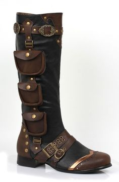 Black Brown Steampunk Serenity Space Pirate Renaissance Fair Mens Boots 8 9 10…