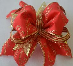 Red & Gold Hair Bow by Oh Sew Personal. On Sale: http://www.etsy.com/shop/OhSewPersonalShop