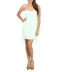 Swiss Dot High Low Dress (Mint). Wet Seal. $29.50