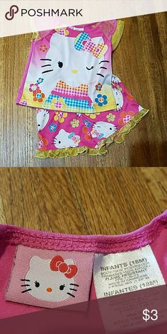 Hello Kitty pajamas Gently loved Hello Kitty pajama top and bottoms. One  small snag pictured. No holes in yellow ruffle netting. Hello Kitty Pajamas  Pajama ... 58bf7f937551a