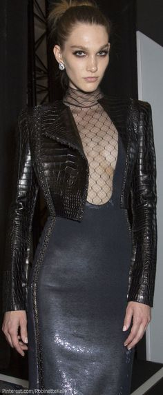 Versace Atelier Haute Couture   F/W 2013 - black crocodile print moto jacket + body conscious dress w/ super low neckline