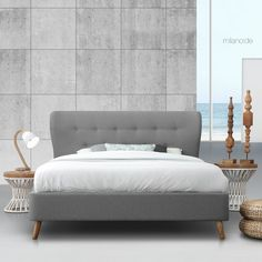 """A modern bed with Mid-century design details. Frame and headboard are upholstered in soft fabric of exceptional quality, while the wooden legs give unique style and functionality. It will enhance the """"retro"""" aesthetics in your bedroom, even combined with modern details. #milanode #furniture #megasales #specialoffers #bedroom #bed #kingsize #superkingsize #boho #upholstered #quilted #scandinavian #unique #quality #design #decoration Bedroom Bed, Mid Century Design, King Size, Soft Fabrics, Scandinavian, Beds, Aesthetics, Couch, Retro"""