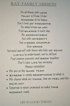 Family Mission Statement Template I Like The Format They