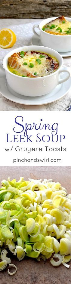 Spring Leek Soup is the perfect way to celebrate the tender leeks of spring! Think of this soup as the delicate cousin of French Onion soup. Both soups are topped with an oversized, melted cheese covered crouton, but instead of the deep, dark broth of French Onion soup, this leek soup has a light buttery broth and is prepared in a fraction of the time - 20 minutes from start to finish. via /pinchandswirl/