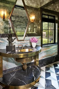 KELLY WEARSTLER | INTERIORS. Bellagio Residence, Blue Powder Room