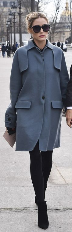 Who made Olivia Palermo's black suede ankle boots and blue coat?