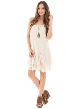 Lime Lush Boutique - Natural Sleeveless Dress with Floral Lace Trim, $19.95…